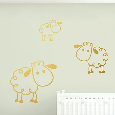 SweetumsWallDecals 3 Piece Sheep Wall Decal Set; Gold