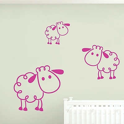 SweetumsWallDecals 3 Piece Sheep Wall Decal Set; Hot Pink