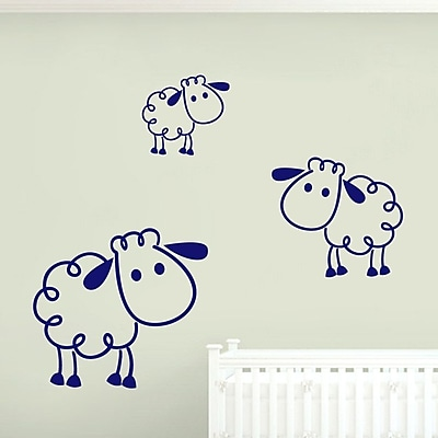 SweetumsWallDecals 3 Piece Sheep Wall Decal Set; Navy