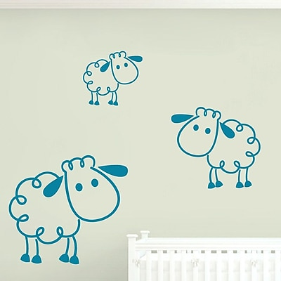 SweetumsWallDecals 3 Piece Sheep Wall Decal Set; Teal