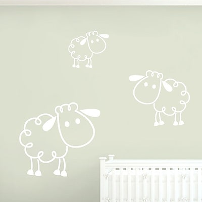 SweetumsWallDecals 3 Piece Sheep Wall Decal Set; White