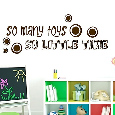 SweetumsWallDecals So Many Toys So Little Time Wall Decal; Brown