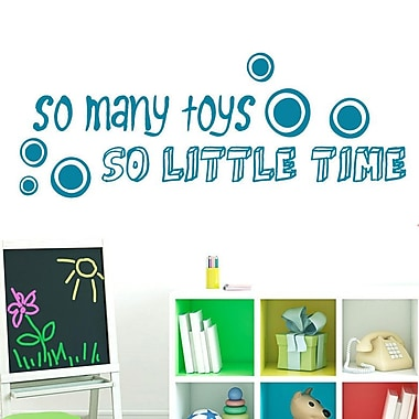 SweetumsWallDecals So Many Toys So Little Time Wall Decal; Teal