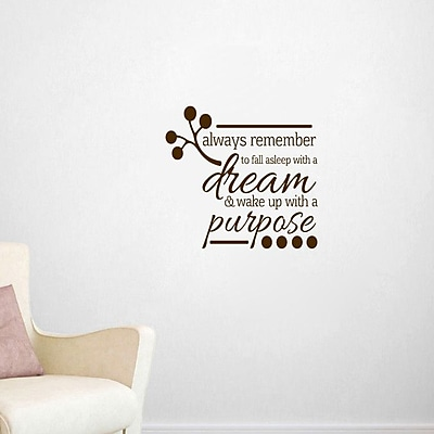 SweetumsWallDecals Wake Up w/ a Purpose Wall Decal; Brown