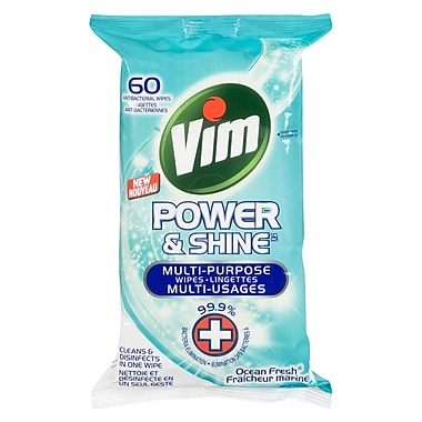 Vim Wipes Ocean Antibacterial Wipes, 60 Count