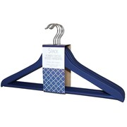 Signature Home Brands Rubber Coated Wood Non-Slip Hanger (Set of 60); Navy