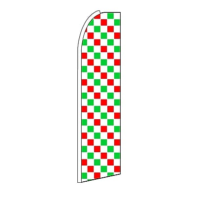 NeoPlex Checkered Swooper Flag; Red/White/Green