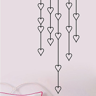 SweetumsWallDecals Hanging Hearts Wall Decal; Black