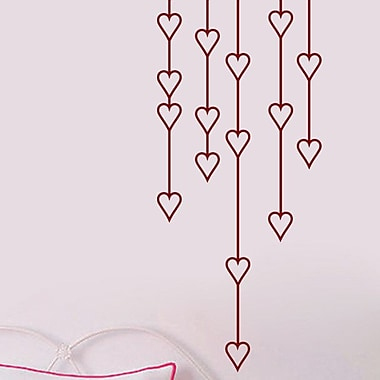SweetumsWallDecals Hanging Hearts Wall Decal; Cranberry