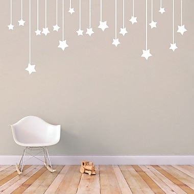 SweetumsWallDecals Hanging Stars Wall Decal; White
