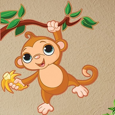 Style and Apply Baby Monkey Wall Decal; 24'' H x 27'' W