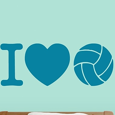 SweetumsWallDecals I Love Volleyball Wall Decal; Teal
