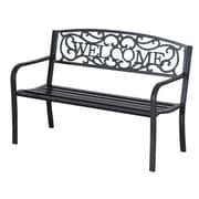 Outsunny Welcome Vines Decorative Steel Garden Bench
