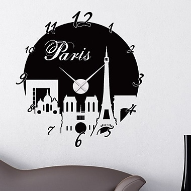 Style and Apply Paris Wall Clock Wall Decal; Dark Gray