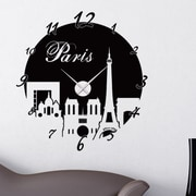 Style and Apply Paris Wall Clock Wall Decal; Dark Red