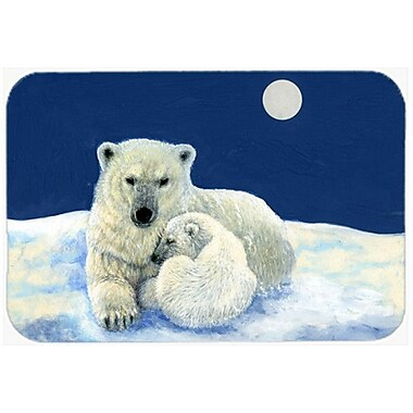 Caroline's Treasures Polar Bears Moonlight Snuggle Glass Cutting Board