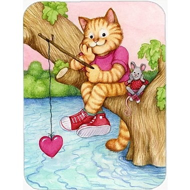 Caroline's Treasures Valentine Cat Fishing For Love Glass Cutting Board