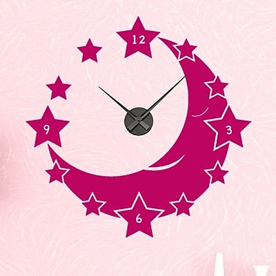 Style and Apply Moon and Stars Wall Clock Wall Decal; Turquoise