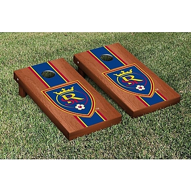 Victory Tailgate MLS Rosewood Stained Stripe Version Cornhole Game Set; Real Salt Lake