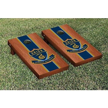 Victory Tailgate MLS Rosewood Stained Stripe Version Cornhole Game Set; Philadelphia Union Zolos