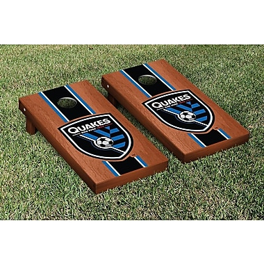 Victory Tailgate MLS Rosewood Stained Stripe Version Cornhole Game Set; San Jose Earthquakes