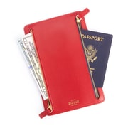Royce Leather RFID Blocking Zippered Currency and Passport Travel Document Organizer Pouch (RFID-793-Red-2)