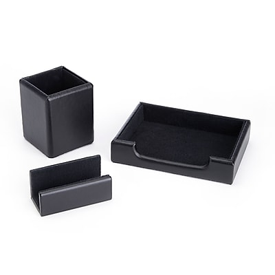 Royce Leather Genuine Leather Pen Cup Organizer, Note Tray and Business Card Holder (RL-OFFICE-2)