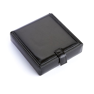 Royce Leather Cufflink Watch Travel Case(921-BLACK-AR)