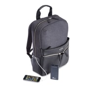Royce Leather Powered Up Leather Power Bank Charging Backpack, Black/Grey (686-BLGY-4)