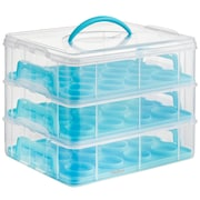 VonShef 3 Tier Cupcake Holder and Carrier Container; Blue