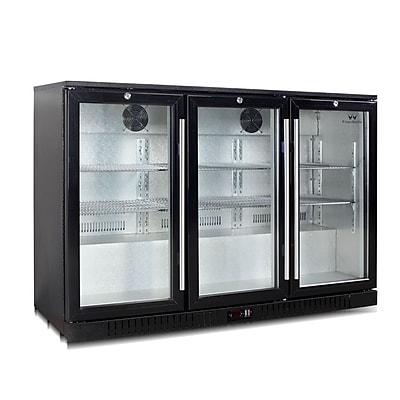 Kingsbottle KBU 328-BP Black, 383 Can Commercial Grade, Undercounter Beverage Fridge, 3 Self-Closing Doors