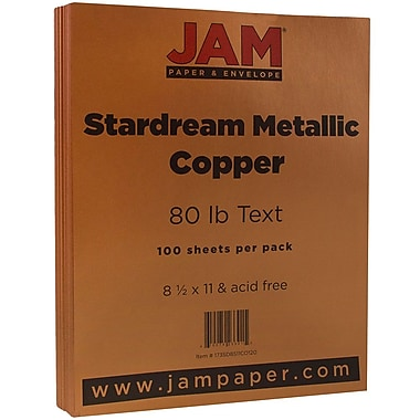 JAM Paper® Metallic Paper, 8.5 x 11, 80lb Stardream Copper, 100/pack (173SD8511CO120)