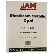 "JAM Paper® Metallic Paper - 8.5"" x 11"" - 32lb Star dream Opal Ivory Star dream Metallic - 25/pack"
