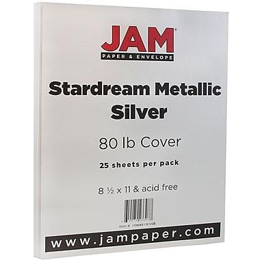 JAM Paper® Metallic Paper, 8.5 x 11, 80lb Stardream Silver, 25/pack (173SD8511SI120B)