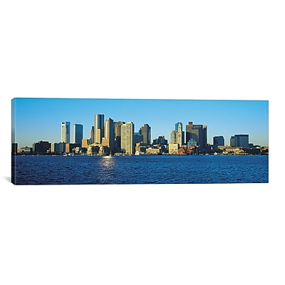 iCanvas Boston Panoramic Skyline Cityscape Photographic Print on Canvas in Blue