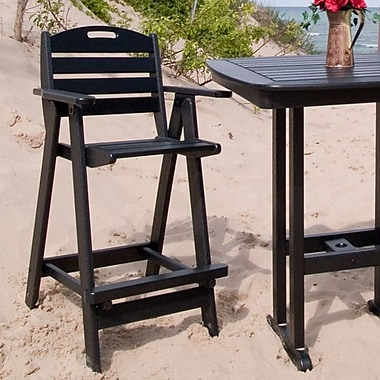 POLYWOOD Nautical 30'' Bar Stool; Black