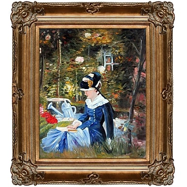 Tori Home Young Woman in the Garden by Edouard Manet Framed Painting Print on Wrapped Canvas