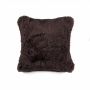 Lifestyle Group Distribution Natural 100pct Sheppskin Throw Pillow; Chocolate
