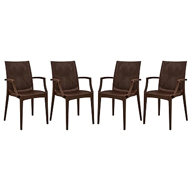 LeisureMod Mace Stacking Patio Dining Chair (Set of 4); Brown
