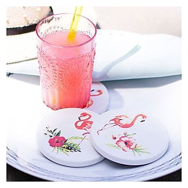 Coastermatic 4 Piece Flamingos Coaster Set; Navy