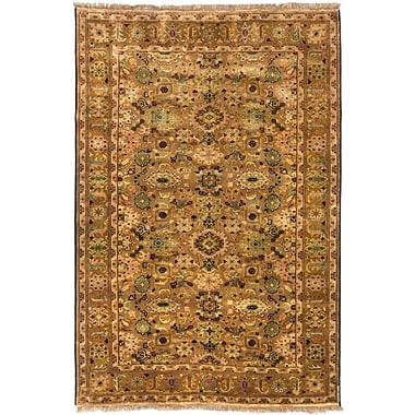 ECARPETGALLERY Royal Ushak Hand-Knotted Brown/Ivory Area Rug