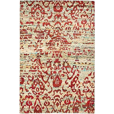 ECARPETGALLERY Hand-Knotted Red/Yellow Area Rug