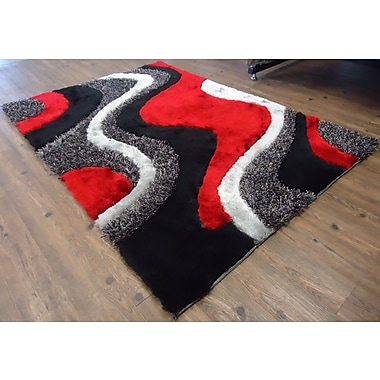 Rug Factory Plus Hand-Tufted Black/Red Area Rug