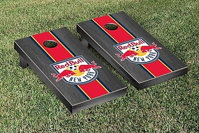 Victory Tailgate MLS Onyx Stained Stripe Version Cornhole Game Set; New York Red Bulls