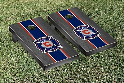 Victory Tailgate MLS Onyx Stained Stripe Version Cornhole Game Set; Chicago Fire