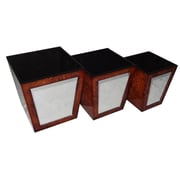 Cheungs 3 Piece Tapered Wood Storage Bin Set w/ Inside Lining and Mirror
