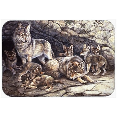 Caroline's Treasures Wolf Wolves by the Den Glass Cutting Board