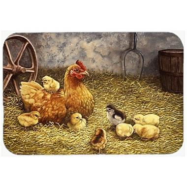Caroline's Treasures Chicken Hen and Her Chicks Glass Cutting Board