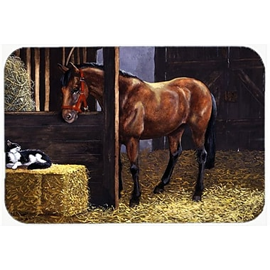 Caroline's Treasures Horse In Stable w/ Cat Glass Cutting Board