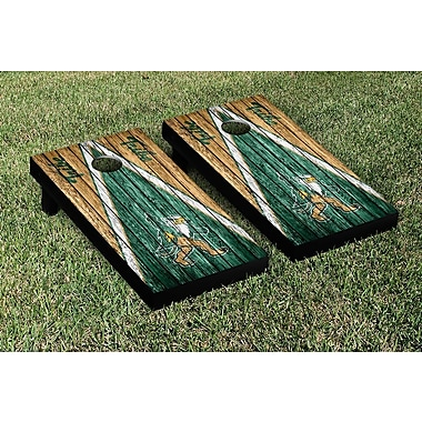 Victory Tailgate NCAA Triangle Weathered Version Cornhole Boards Game Set; William & Mary Tribe